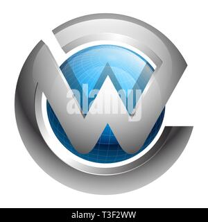 Global sphere initial letter W concept design. Symbol graphic template element - Stock Photo