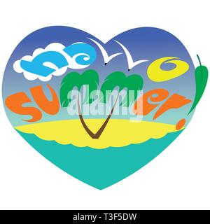 typography hello summer with palm sea gulls and the sun - Stock Photo