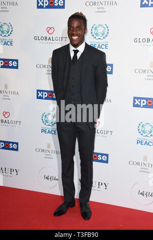 London, UK. 08th Apr, 2019. LONDON, UK. April 08, 2019: Wilfred Zaha arriving for the Football for Peace initiative dinner by Global Gift Foundation at the Corinthia Hotel, London. Picture: Steve Vas/Featureflash Credit: Paul Smith/Alamy Live News - Stock Photo