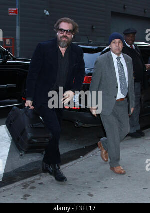 New York, USA. 09th Apr, 2019.  David Harbour at Good Morning America to talk about new movie Hellboy in New York April 09, 2019 Credit: MediaPunch Inc/Alamy Live News - Stock Photo