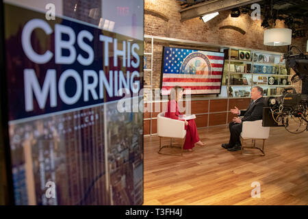 U.S. Secretary of State Mike Pompeo, right, during a television interview with Norah O'Donnell on CBS This Morning talk show April 5, 2019 in New York City, NY. - Stock Photo