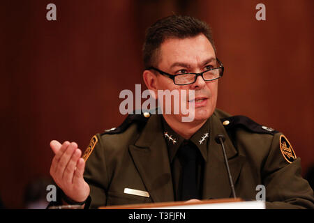 Washington DC, USA. 09th Apr, 2019. Rodolfo Karisch, Rio Grande Valley Sector Chief Patrol Agent, US Border Patrol, US Customs and Border Protection, U.S. Department of Homeland Security, testifies before the US Senate Committee on Homeland Security and Government Affairs on April 9, 2019, discussing migration at the United States' Southern Border. Credit: Stefani Reynolds/CNP | usage worldwide Credit: dpa picture alliance/Alamy Live News - Stock Photo