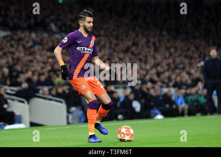 London, UK. 09th Apr, 2019. Riyad Mahrez of Manchester City in action. UEFA Champions league match, quarter final, 1st leg match, Tottenham Hotspur v Manchester City at The Tottenham Hotspur Stadium in London on Tuesday 9th April 2019. this image may only be used for Editorial purposes. Editorial use only, license required for commercial use. No use in betting, games or a single club/league/player publications . pic by Steffan Bowen/Andrew Orchard sports photography/Alamy Live news Credit: Andrew Orchard sports photography/Alamy Live News - Stock Photo