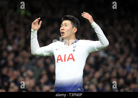 London, UK. 09th Apr, 2019. Son Heung-min of Tottenham Hotspur looks on. UEFA Champions league match, quarter final, 1st leg match, Tottenham Hotspur v Manchester City at The Tottenham Hotspur Stadium in London on Tuesday 9th April 2019. this image may only be used for Editorial purposes. Editorial use only, license required for commercial use. No use in betting, games or a single club/league/player publications . pic by Steffan Bowen/Andrew Orchard sports photography/Alamy Live news Credit: Andrew Orchard sports photography/Alamy Live News - Stock Photo