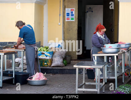 Zadonsk, Russia - August 28, 2018: Workers prepare food for the meal, the complex Zadonsky Bogoroditsy monastery, Zadonsk - Stock Photo
