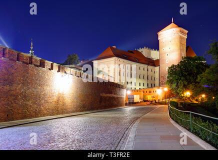 Wawel Castle in the evening in Krakow, Poland - Stock Photo
