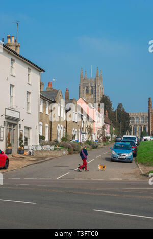 Long Melford Suffolk, view of Church Walk and the tower of Holy Trinity Church in the Suffolk village of Long Melford, England, UK. - Stock Photo
