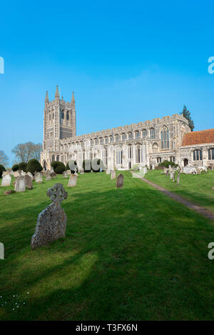 Long Melford Church, view of Holy Trinity Church - a large medieval parish church in the Suffolk village of Long Melford, England, UK. - Stock Photo