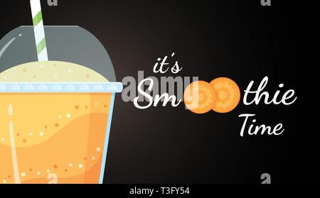 Orange smoothie logo carrot shake vector illustration. Smoothie logo on black background, glass filled with fresh green smoothies cocktail for healthy detox web banner Clipping mask applied. - Stock Photo