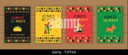 Set of cinco de mayo party poster template. Festive vector illustration with native pinata, taco and mariachi, cocktail face and garland flags for traditional Mexican celebration on cinco de mayo. - Stock Photo