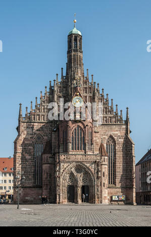 Frauenkirche (Our Lady's church) at the Nürnberg Hauptmarkt (central square) in historical Nuremberg town. Nuremberg, Bavaria, Germany - Stock Photo
