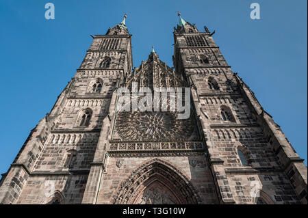 St. Lorenz Church (St. Lorenz Kirche) in historical Nuremberg town. Nuremberg, Bavaria, Germany - Stock Photo