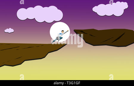 Business Superhero.Businessman running high jump to achieve success.Man running towards success applying all force to reach goal.Corporate background. - Stock Photo
