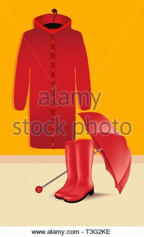 Umbrella, rubber boots and raincoat, vector illustration - Stock Photo