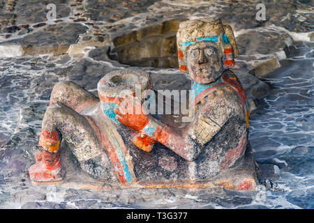 Ancient Aztec Chacool Offering Stone Statue Used Offerings Templo Mayor Mexico City Mexico. Great Aztec Temple created 1325 to 1521 - Stock Photo