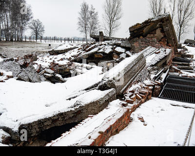 Remains of gas chamber and crematorium, Auschwitz Birkenau, concentration camp, death camp, Poland - Stock Photo