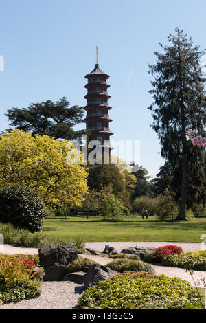 The Great Pagoda in the Japanese garden at the Royal Botanic Gardens at Kew in London, United Kingdom, in 2015. - Stock Photo