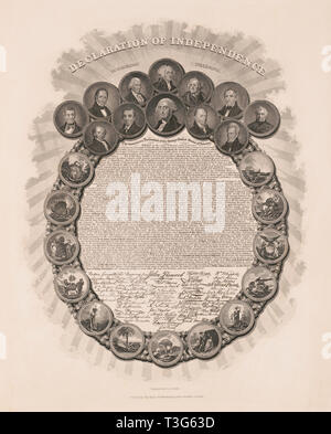 Declaration of Independence, in Congress July 4th 1776, Text and Signatures within Wreath of Portraits of First Twelve U.S. Presidents and Scenes Representing Thirteen Colonies, Engraved by Geo. G. Smith, Published by Charles Root, Boston, 1850 - Stock Photo
