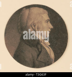 William Henry Harrison, 9th President of the United States, Head and Shoulders Profile Portrait as a Delegate Member of the House of Representatives from the Northwest Territory, Engraving, Charles Balthazar Julien Févret de Saint-Mémin, 1800 - Stock Photo
