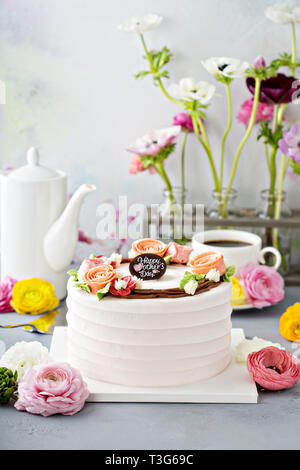 Mothers day cake with flowers - Stock Photo