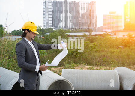 Arabic young architect engineer at working place - Stock Photo