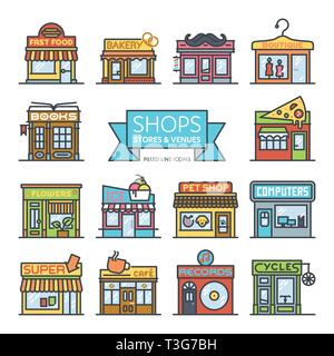 Shops, stores and venues filled line icons vector illustration - Stock Photo