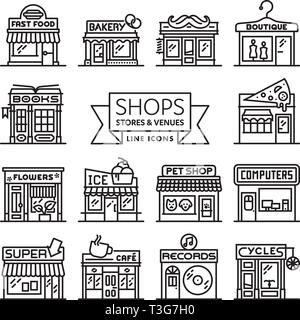 Shops, stores and venues line icons vector illustration collection - Stock Photo