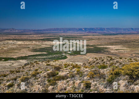 Rio Grande, Chihuahuan Desert borderland, view from Mariscal Canyon Rim Trail, Big Bend National Park, Texas, USA - Stock Photo