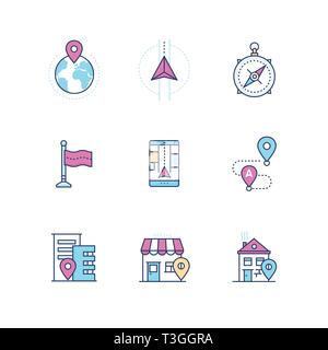 Geolocation - modern vector line design style icons set - Stock Photo
