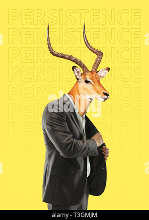 Persistent and stubborn man. Male body in business suit with the deer head and horns against yellow background. Modern design. Contemporary art collage. Concept of human nature or finance. - Stock Photo