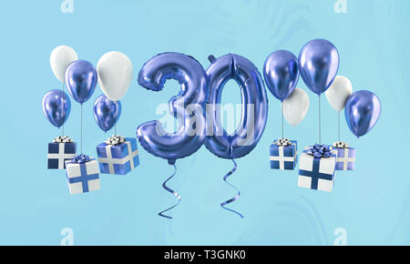 Number 30 birthday celebration gold balloon with presents. 3D Render - Stock Photo