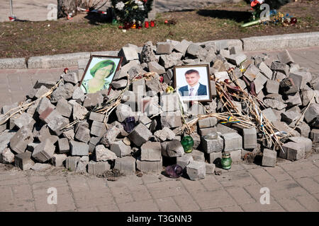 Makeshift monument to commemorate the victims of the protests at Maidan Nezalezhnosti (Maidan Square) in central Kiev, 2019. Following the riots of 20 - Stock Photo