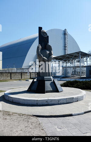 The Chernobyl Nuclear Power Plant coevred with the new Safe Confinement, April 2019 - Stock Photo