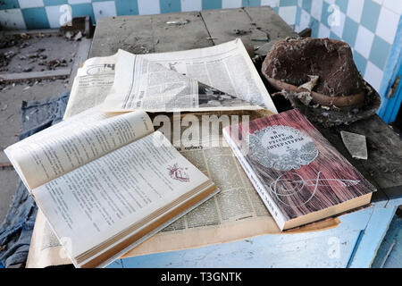Personal remains scattered inside the exclusion zone of Chernobyl, Ukraine, April 2019 - Stock Photo