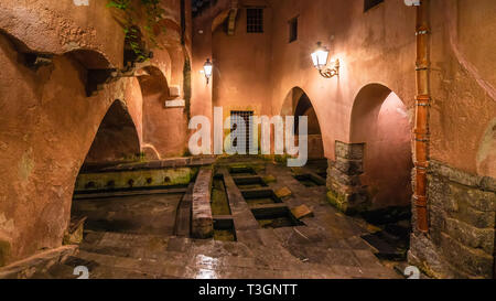 The famous public ancient roman baths on Cefalu, Sicily island, Italy - Stock Photo