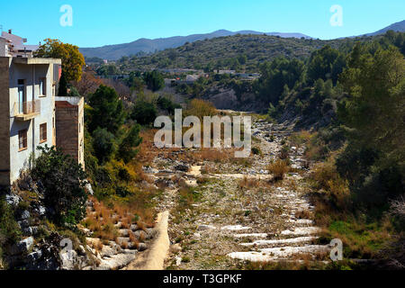 Dry River Bed in the gorge at Gata de Gorges in the Province of Alicante, Spain - Stock Photo