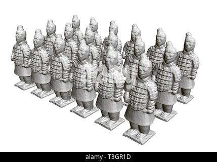 Group of terracotta warriors. Sculptures of ancient terracotta warriors. 3D. Isometric view. Vector illustration - Stock Photo