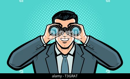 Businessman looks at the target through binoculars. Business vector illustration - Stock Photo
