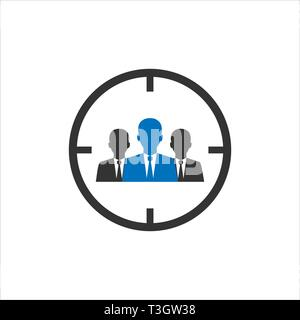 Audience, people target icon. Vector illustration, flat design. - Stock Photo