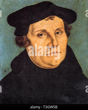 portrait of Martin Luther by Lucas Cranach 1529 ((Eisleben, 10 November 1483 [1] - Eisleben, 18 February 1546) - he was a German theologian who initiated the Protestant Reformation. The Christian confession based on his theological doctrine is called Lutheranism - Stock Photo