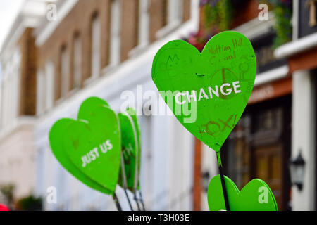 Banners used in west London in a protest accusing authorities of lying after cancer-causing chemicals were found in soil close to Grenfell Tower. - Stock Photo