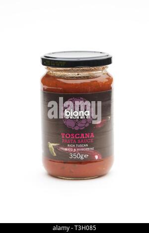 Biona Toscana Pasta Sauce on a white background. - Stock Photo