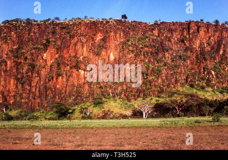 An escarpment near the western side of Lake Baringo. Good for birds.Kenya.East Africa. - Stock Photo