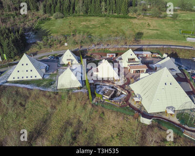 Aerial view of the pyramid park in Lennestadt - Stock Photo