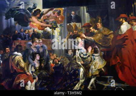 The Coronation in Saint-Denis - The Marie de' Medici Cycle 1622-1624  by Peter Paul Rubens commissioned by Queen Marie de' Medici, widow of King Henry IV of France, for the Luxembourg Palace in Paris, - Stock Photo