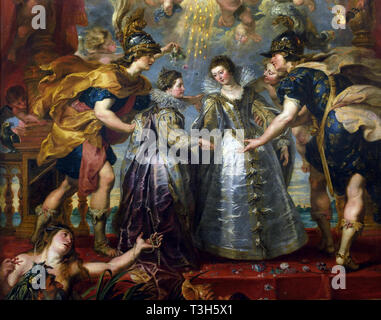 The Exchange of the Princesses at the Spanish Border - The Marie de' Medici Cycle 1622-1624  by Peter Paul Rubens commissioned by Queen Marie de' Medici, widow of King Henry IV of France, for the Luxembourg Palace in Paris, - Stock Photo