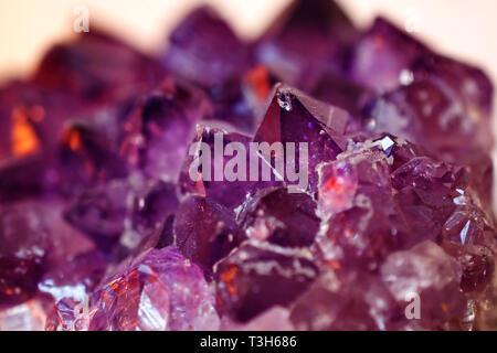 Amethyst geode Closeup macro Texture - Stock Photo