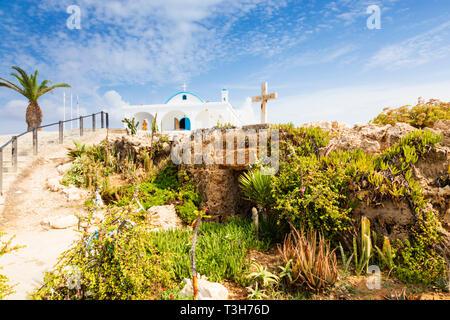 Agia Thekla church and cave chapel, Agia Napa, Cyprus October 2018 - Stock Photo