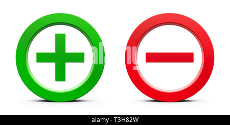 Green Plus sign and red Minus sign isolated on white background, three-dimensional rendering, 3D illustration - Stock Photo