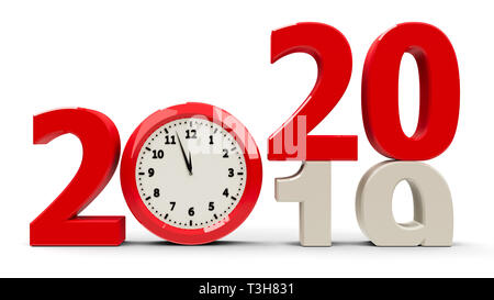 2019-2020 change with clock dial represents coming new year 2020, three-dimensional rendering, 3D illustration - Stock Photo